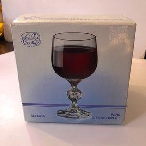 Bohemia Crystal Wine Glass Set 4. NEW in Box